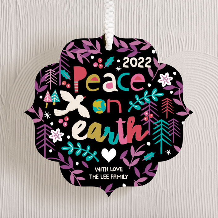 """Festive Peace"" - Bohemian Holiday Ornament Cards in Blackberry Pie by peetie design."