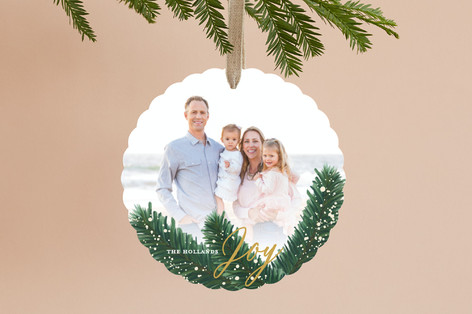 Flocked Pine Holiday Ornament Cards
