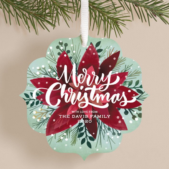 """Frosty Botanicals"" - Holiday Ornament Cards in Mint by Laura Bolter Design."