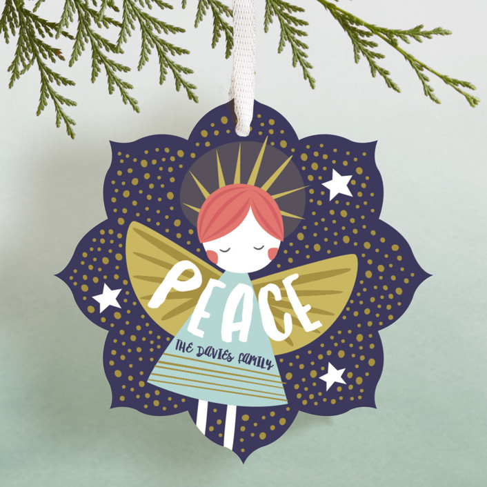 Glitter Angel Bohemian Holiday Ornament Cards In Night Sky By Peetie Design