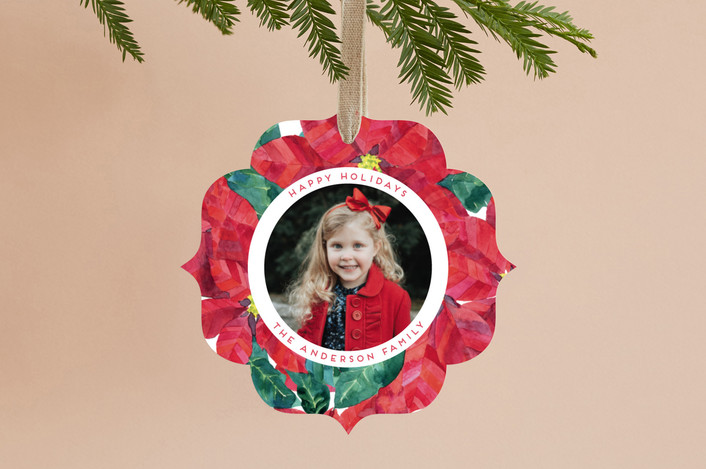 """Holiday Flowers"" - Holiday Ornament Cards in Poinsettia by Alexandra Dzh."