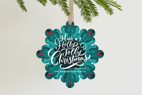 Holly Kaleidoscope Holiday Ornament Cards
