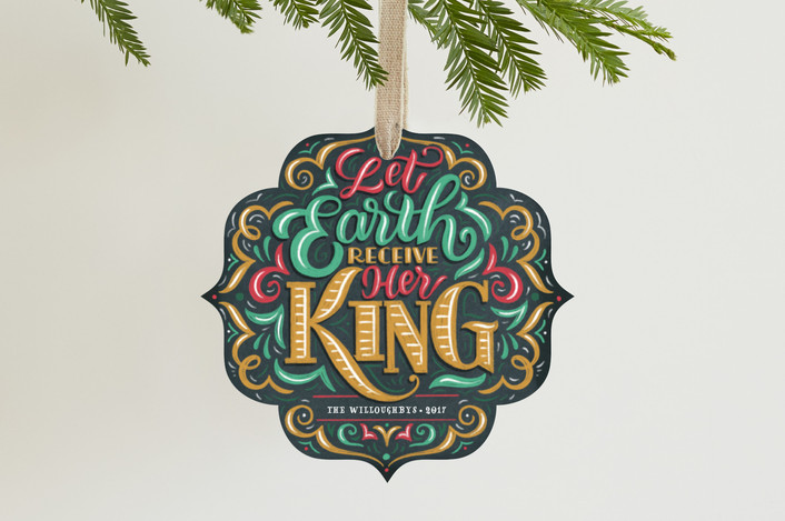 """""""Let Earth Receive Her King"""" - Vintage Holiday Ornament Cards in Golden by Laura Bolter Design."""