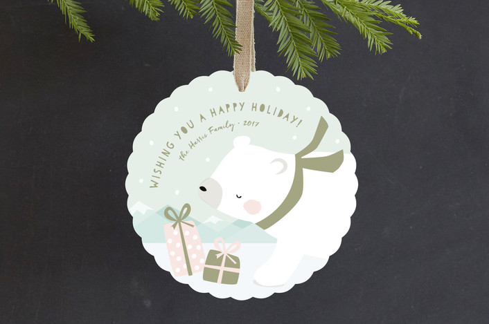 """polar ice"" - Holiday Ornament Cards in Mint by peetie design."