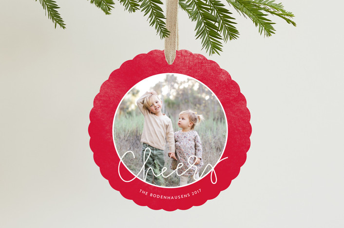 """""""Red Wreath"""" - Holiday Ornament Cards in Cranberry by Haley Warner."""