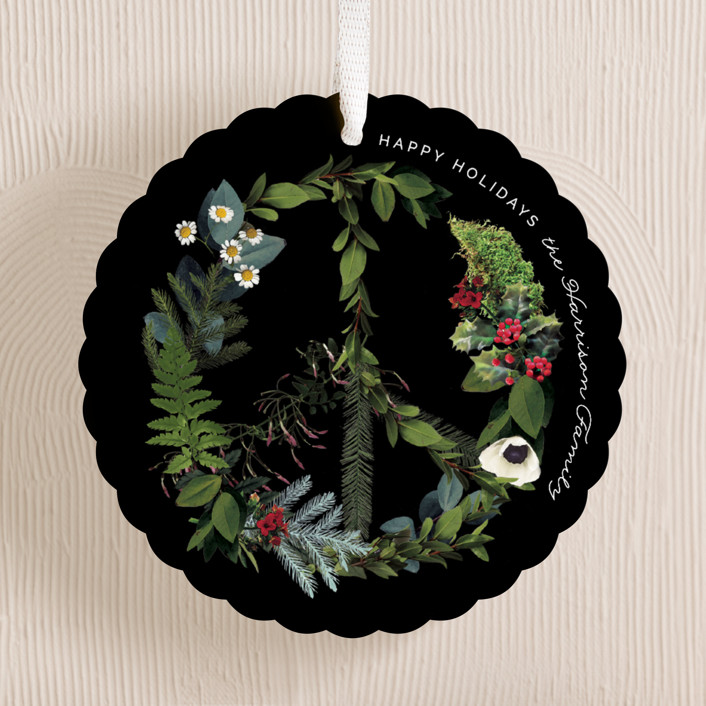 """""""Floral Peace"""" - Bohemian Holiday Ornament Cards in Onxy by Baumbirdy."""