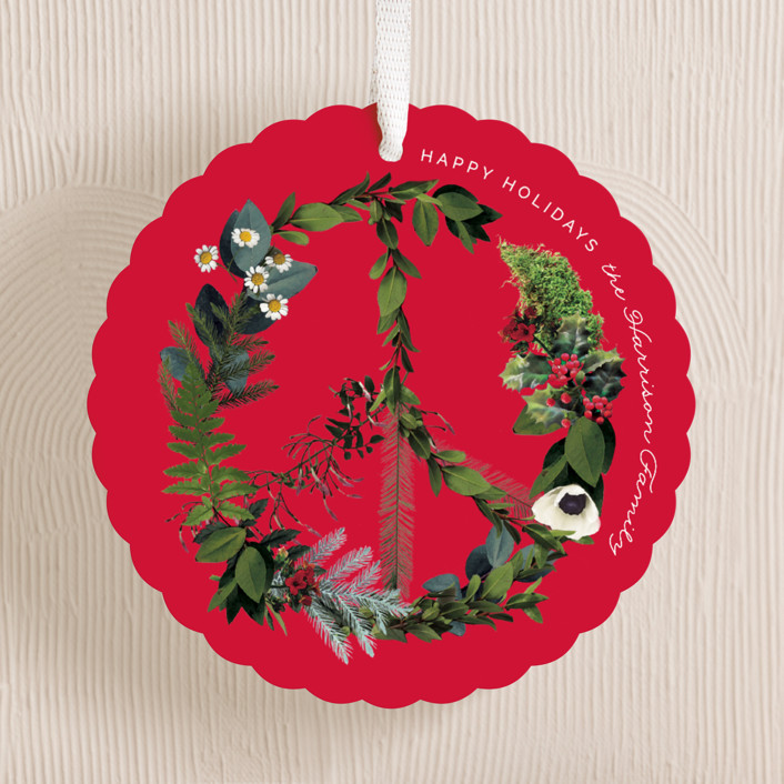 """Floral Peace"" - Holiday Ornament Cards in Holly by Baumbirdy."
