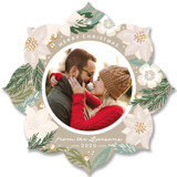 This is a beige holiday card ornament by Alethea and Ruth called Winter Botanicals with standard printing on smooth signature in ornament.