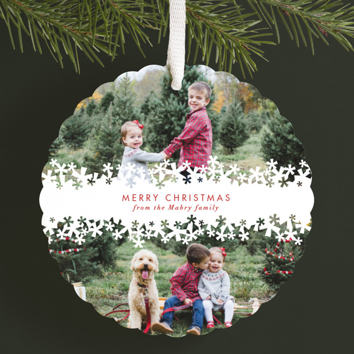 """""""Paper Cut Snow"""" - Holiday Ornament Cards in Snow by Laura Hankins."""