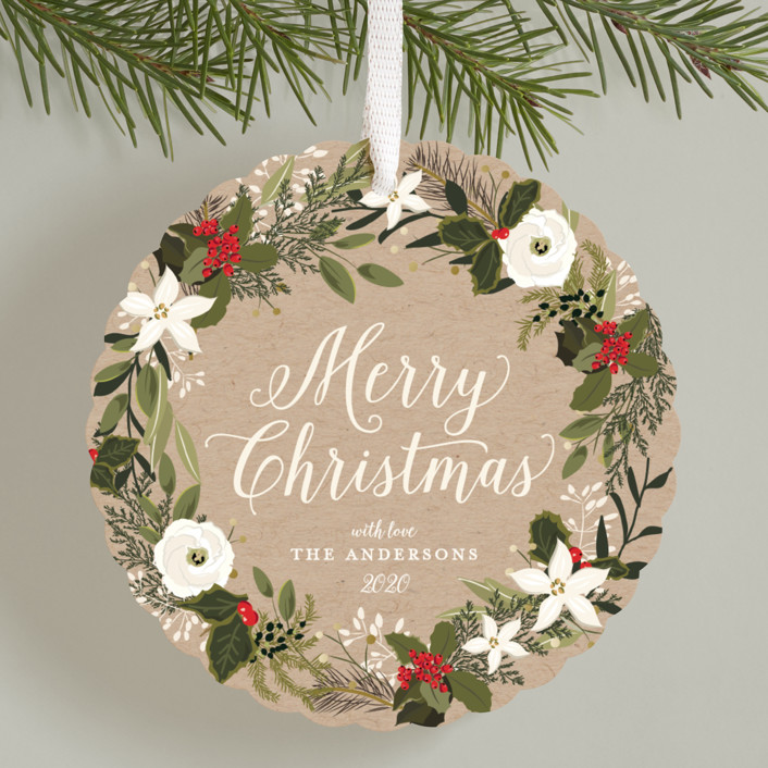 """Floral & Pine Wreath"" - Holiday Ornament Cards in Kraft by Susan Moyal."