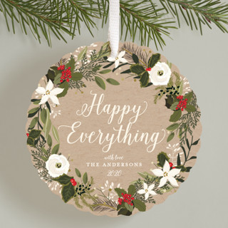 Floral & Pine Wreath Holiday Ornament Cards