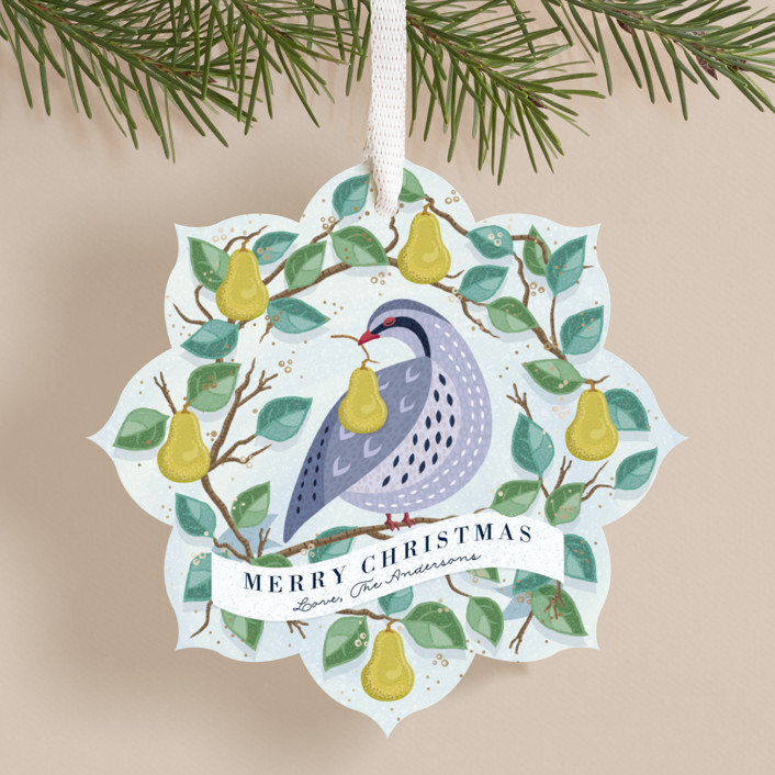 """Peaceful Partridge"" - Bohemian Holiday Ornament Cards in Winter by Paper Sun Studio."