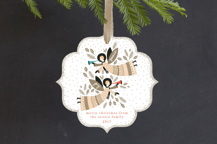 """""""Peace and Joy Angels"""" - Vintage Holiday Ornament Cards in Earth by Eve Schultz."""