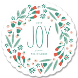 This is a green holiday card ornament by Laura Hankins called Festive Flora Wreath with standard printing on signature in ornament.