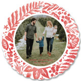 This is a red holiday card ornament by Hooray Creative called Festive Watercolor Florals with standard printing on smooth signature in ornament.