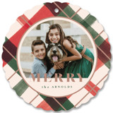 This is a red holiday card ornament by Carrie ONeal called Joyful Plaid with standard printing on smooth signature in ornament.