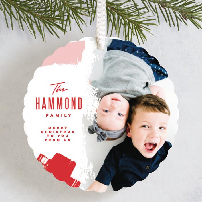 """Bold Brushstrokes"" - Holiday Ornament Cards in Festive by Oscar & Emma."