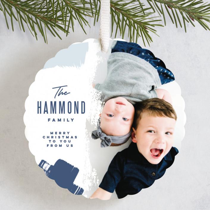 """Bold Brushstrokes"" - Holiday Ornament Cards in Winter Sky by Oscar & Emma."