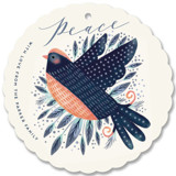 This is a blue holiday card ornament by iamtanya called Peaceful Bird with standard printing on signature in ornament.