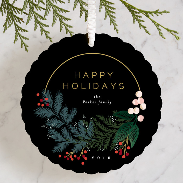 """""""Modern Pine Wreath"""" - Holiday Ornament Cards in Ink by Alethea and Ruth."""