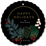 This is a black holiday card ornament by Alethea and Ruth called Modern Pine Wreath with standard printing on pearlescent in ornament.