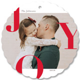 This is a red holiday card ornament by Michelle Taylor called Supreme Joy with standard printing on smooth signature in ornament.