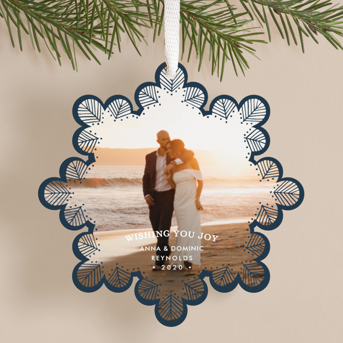 """""""Delicate Lace"""" - Holiday Ornament Cards in Navy by Laura Condouris."""