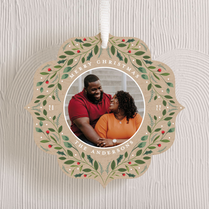 """""""Greenery Ornament"""" - Holiday Ornament Cards in Royal by Susan Moyal."""