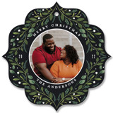 This is a black holiday card ornament by Susan Moyal called Greenery Ornament with standard printing on smooth signature in ornament.