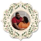 This is a red holiday card ornament by Susan Moyal called Greenery Ornament with standard printing on smooth signature in ornament.