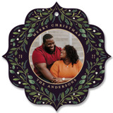 This is a purple holiday card ornament by Susan Moyal called Greenery Ornament with standard printing on smooth signature in ornament.