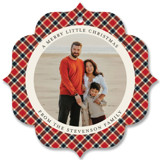 This is a red holiday card ornament by Park House Paperie called All in Plaid Ornament with standard printing on smooth signature in ornament.