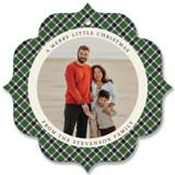 This is a green holiday card ornament by Park House Paperie called All in Plaid Ornament with standard printing on smooth signature in ornament.