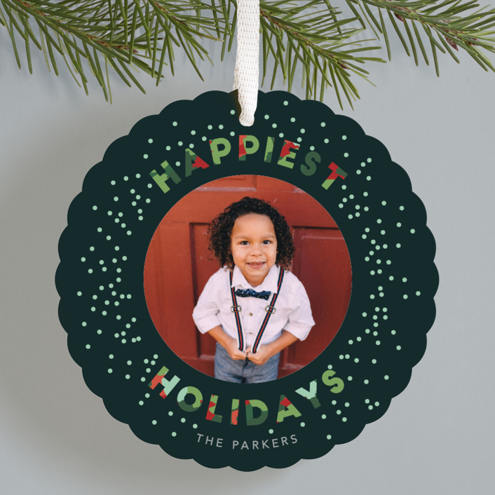 """""""Confetti Christmas"""" - Modern Holiday Ornament Cards in Evergreen by Hudson Meet Rose."""