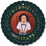 This is a green holiday card ornament by Hudson Meet Rose called Confetti Christmas with standard printing on smooth signature in ornament.