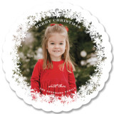 This is a white holiday card ornament by Sarah Brown called Frosted Flakes with standard printing on smooth signature in ornament.