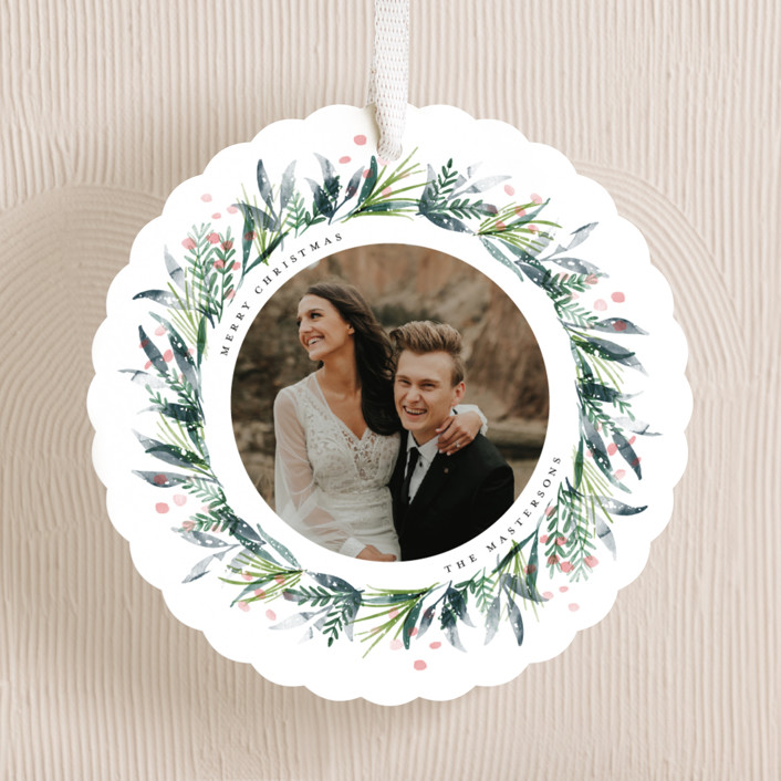 """""""Hand Painted Wreath"""" - Holiday Ornament Cards in Bluegrass by Jackie Crawford."""
