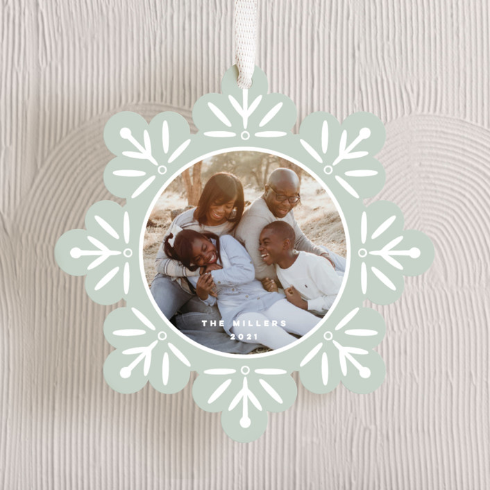 """Snowflake"" - Bohemian Holiday Ornament Cards in Mint by Nicole Barreto."
