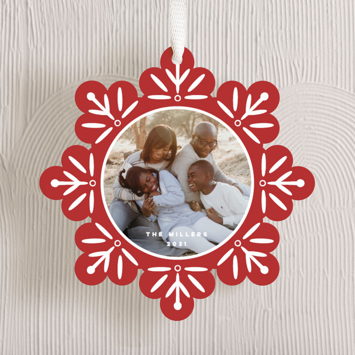 """""""Snowflake"""" - Bohemian Holiday Ornament Cards in Poinsettia by Nicole Barreto."""
