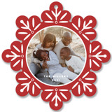 This is a red holiday card ornament by Nicole Barreto called Snowflake with standard printing on smooth signature in ornament.