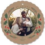 This is a brown holiday card ornament by Susan Brown called Berry Cute with standard printing on smooth signature in ornament.