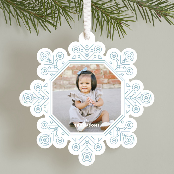 """Ornate Snowflake"" - Vintage Holiday Ornament Cards in Frost by Kristen Smith."