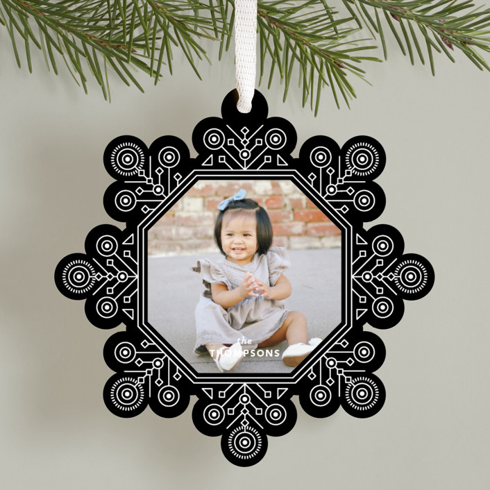 """Ornate Snowflake"" - Vintage Holiday Ornament Cards in Tuxedo by Kristen Smith."