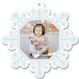 This is a blue holiday card ornament by Kristen Smith called Ornate Snowflake with standard printing on smooth signature in ornament.