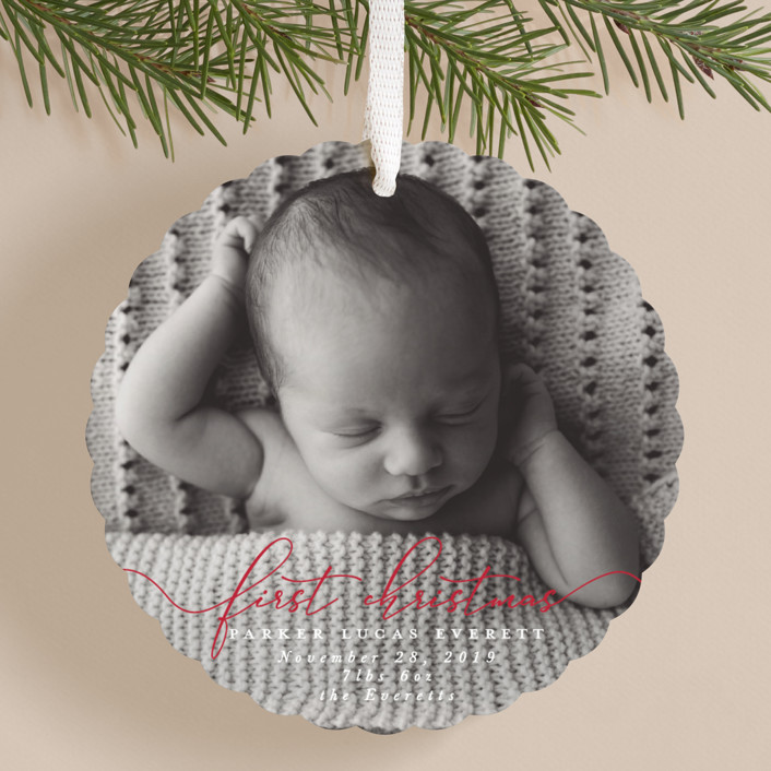 """""""First Christmas"""" - Holiday Ornament Cards in Fire Engine by Hudson Meet Rose."""