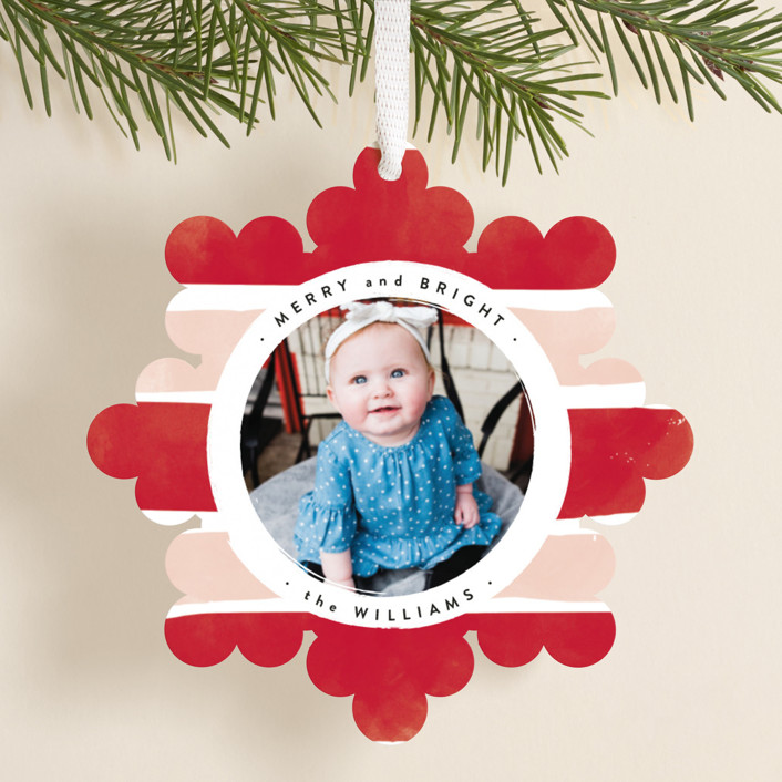 """bright snowflake"" - Vintage Holiday Ornament Cards in Peppermint by Robert and Stella."