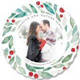 This is a red holiday card ornament by Yuliya Evseeva called Christmas Berries with standard printing on smooth signature in ornament.