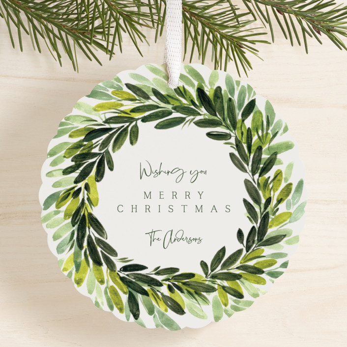 """Three Laurels"" - Holiday Ornament Cards in Moss by Rosana Laiz Blursbyai."