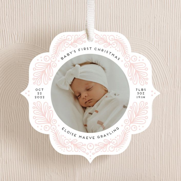 """First Ornament"" - Holiday Ornament Cards in Blush by Genna Blackburn."