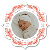 This is a red holiday card ornament by Genna Blackburn called First Ornament with standard printing on smooth signature in ornament.